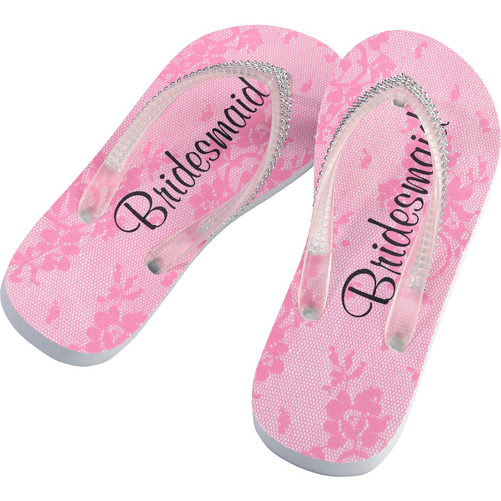 Adult Large Pink Bridesmaid Flip Flops Image #1