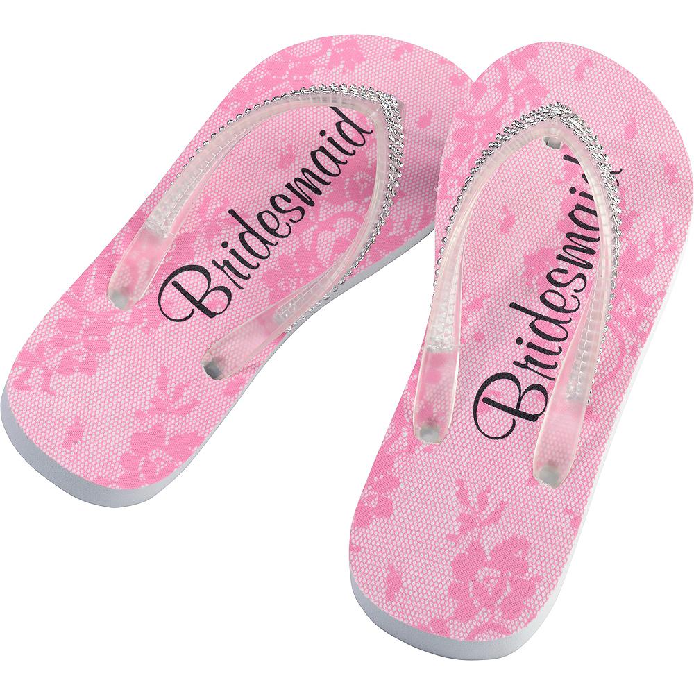 Adult Medium Pink Bridesmaid Flip Flops Image #1