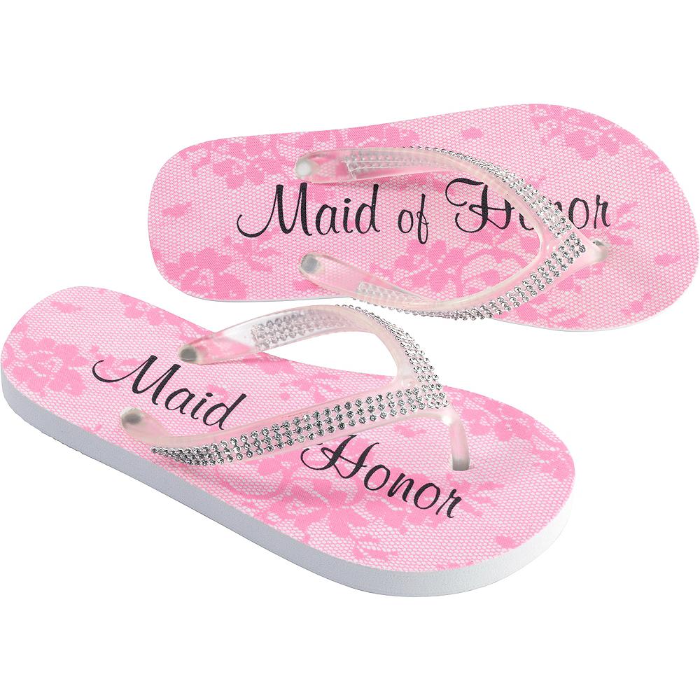 Adult Large Pink Maid of Honor Flip Flops Image #1