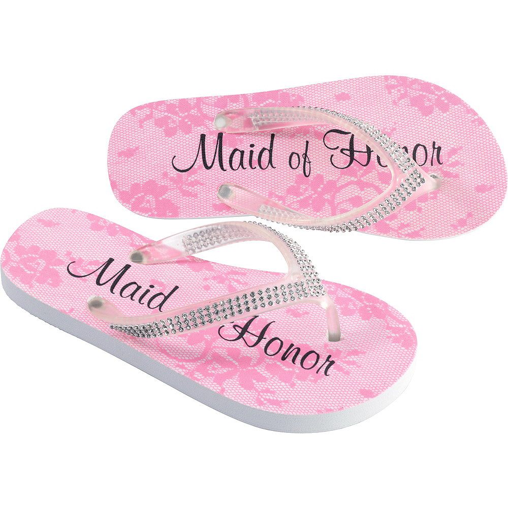 Adult Small Pink Maid of Honor Flip Flops Image #1