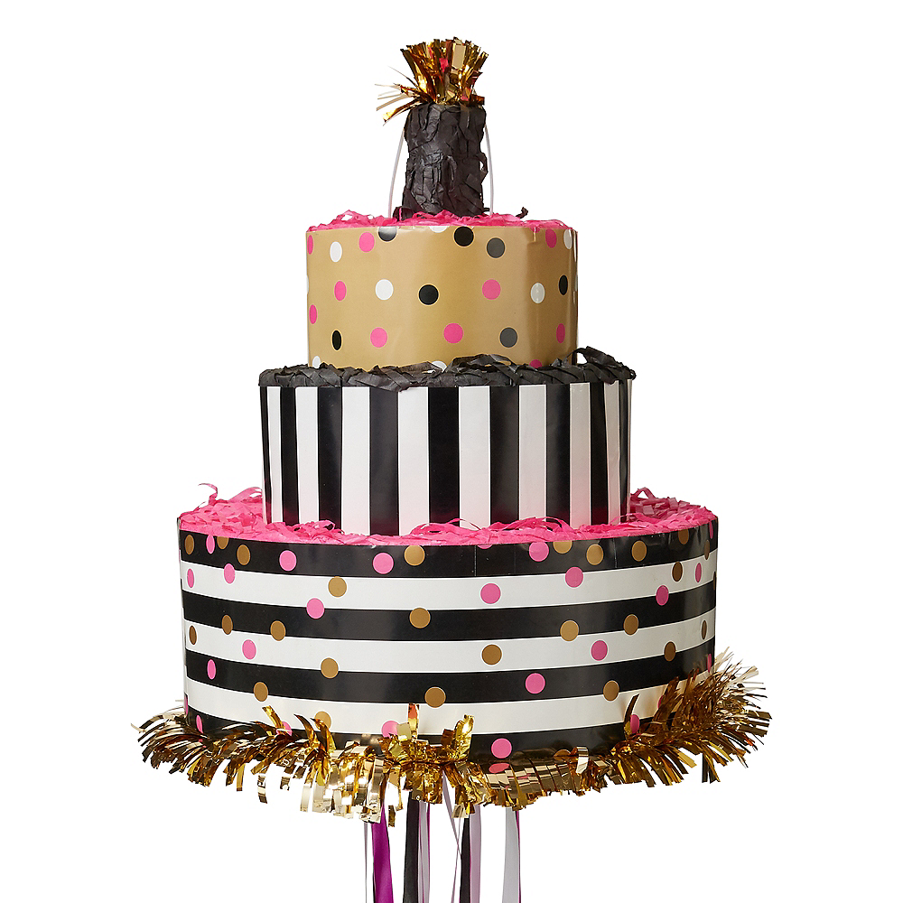 Pull String Gold Pink Birthday Cake Pinata 10 3 4in X 12in Party
