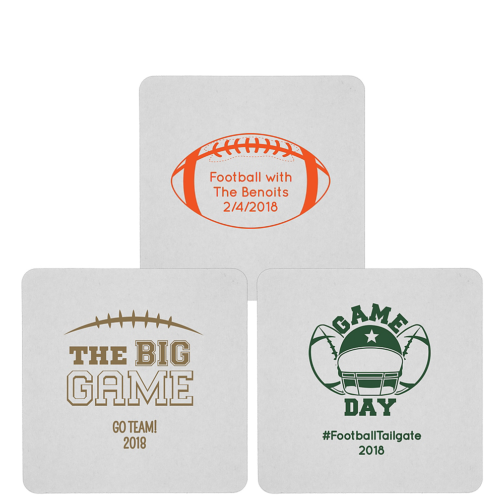 Personalized Football 80pt Square Coasters Image #1