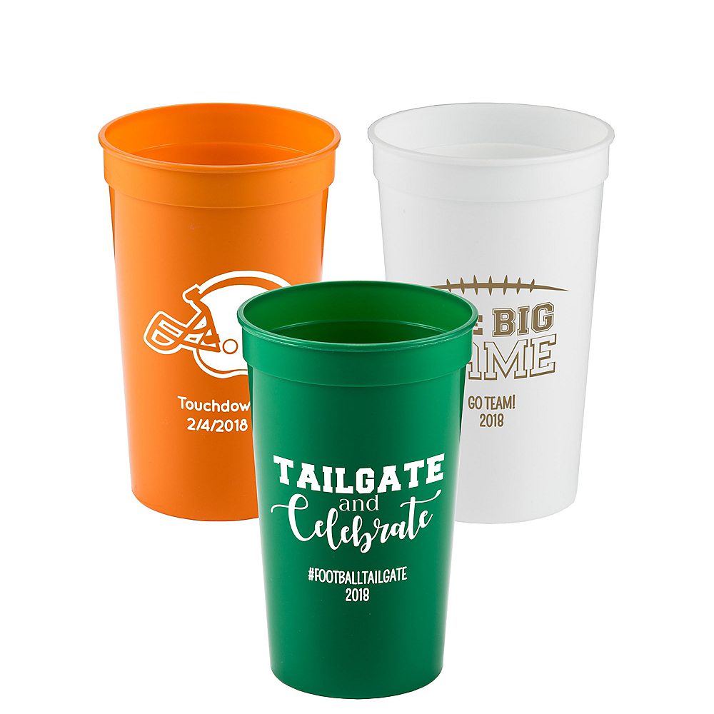 Personalized Football Plastic Stadium Cups 22oz Image #1