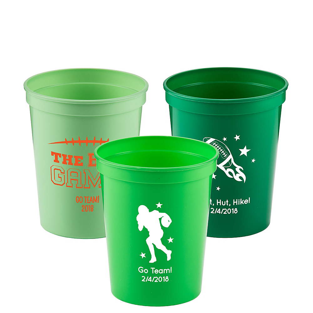 Personalized Football Plastic Stadium Cups 16oz Image #1