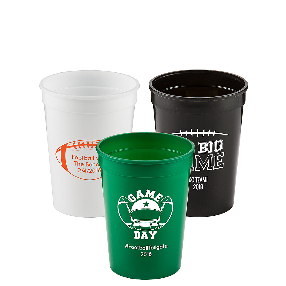Personalized Football Plastic Stadium Cups 12oz Image #1