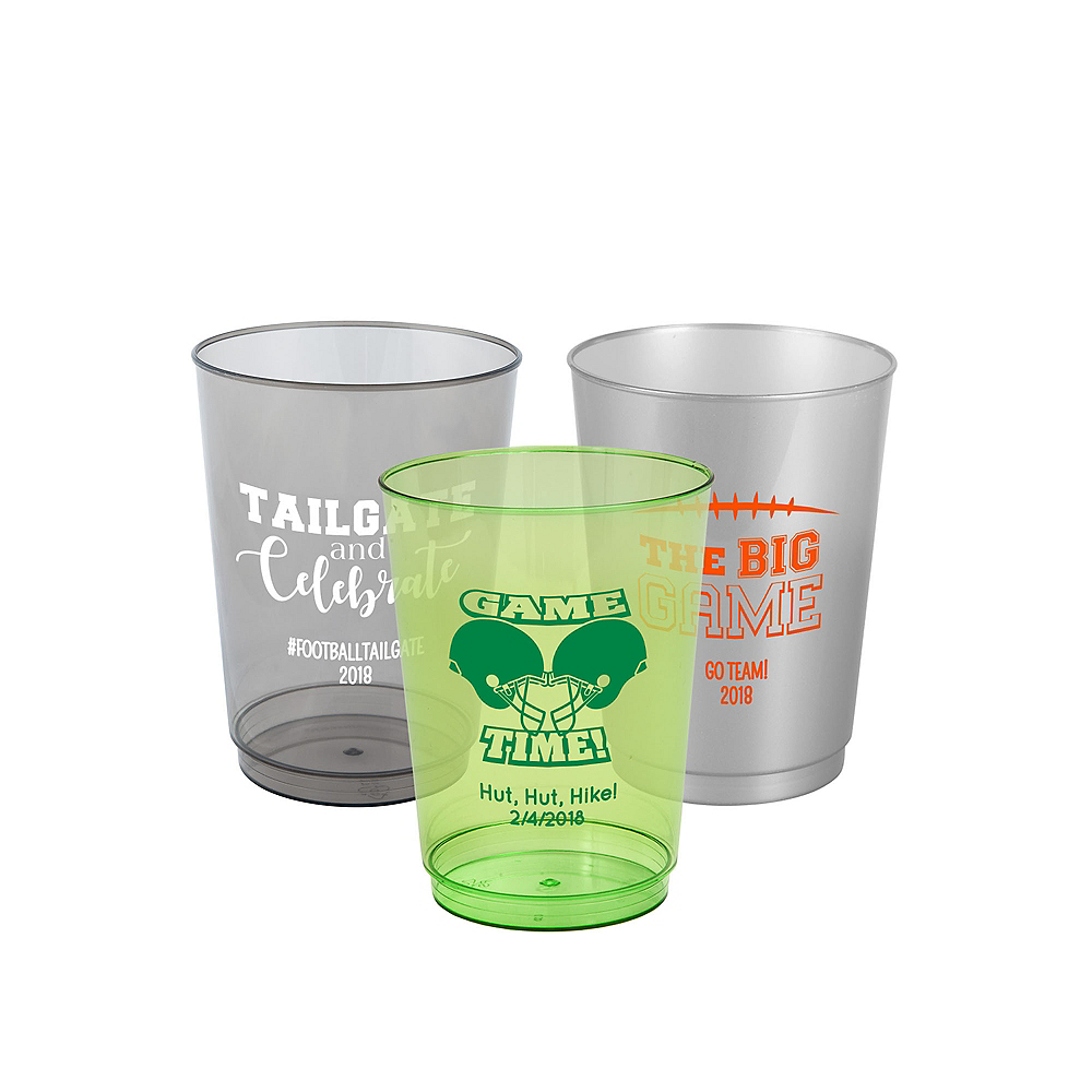 Personalized Football Hard Plastic Cups 10oz Image #1