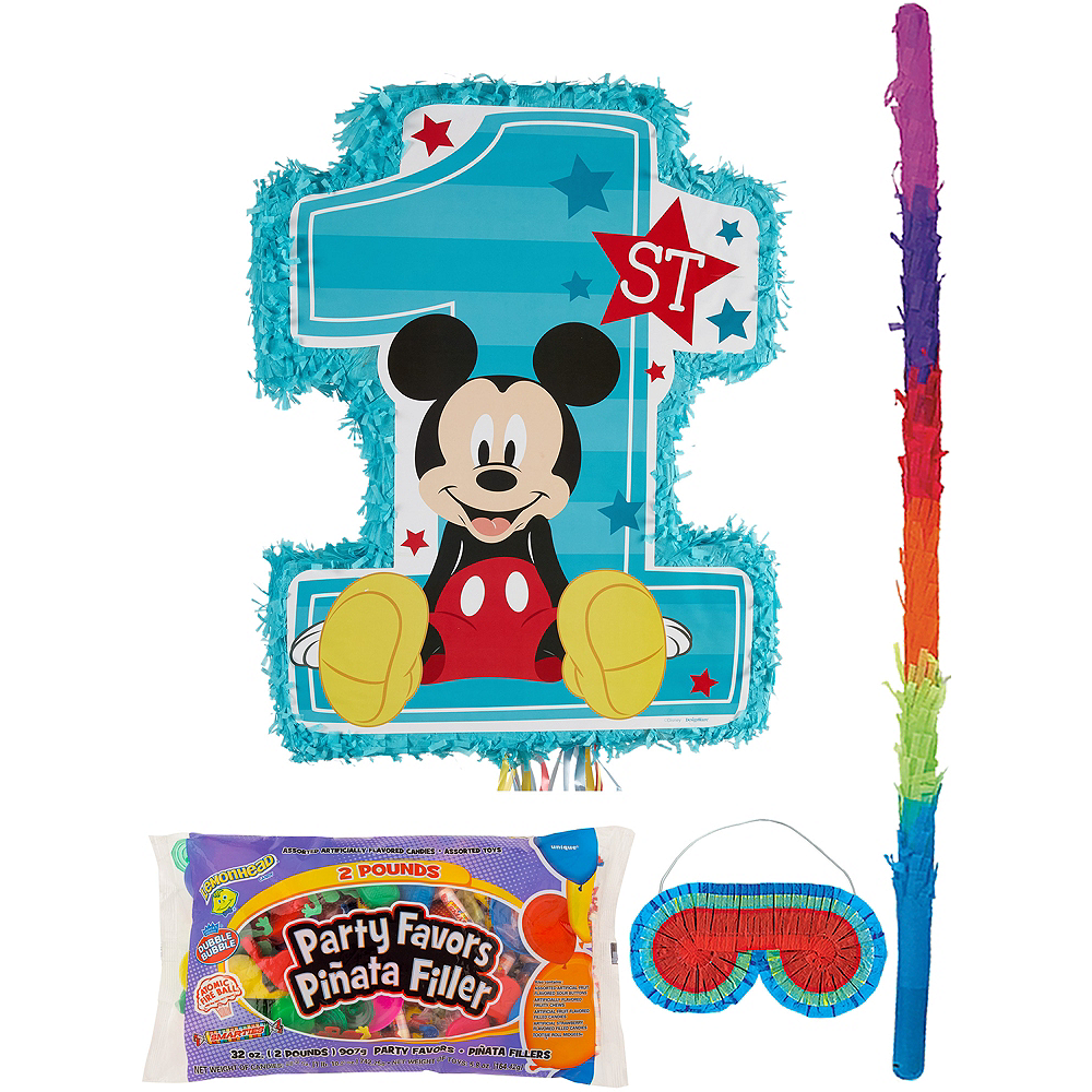 1st Birthday Mickey Mouse Pinata Kit With Candy Favors Image
