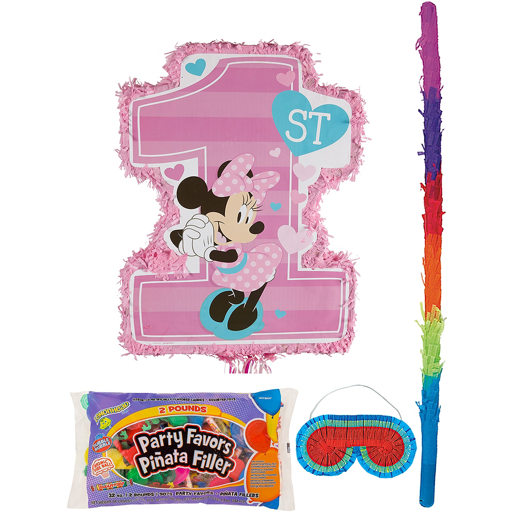 1st Birthday Minnie Mouse Pinata Kit With Candy Favors Image