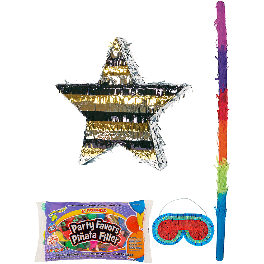 Foil Black, Gold & Silver Star Pinata Kit with Candy & Favors Image #1
