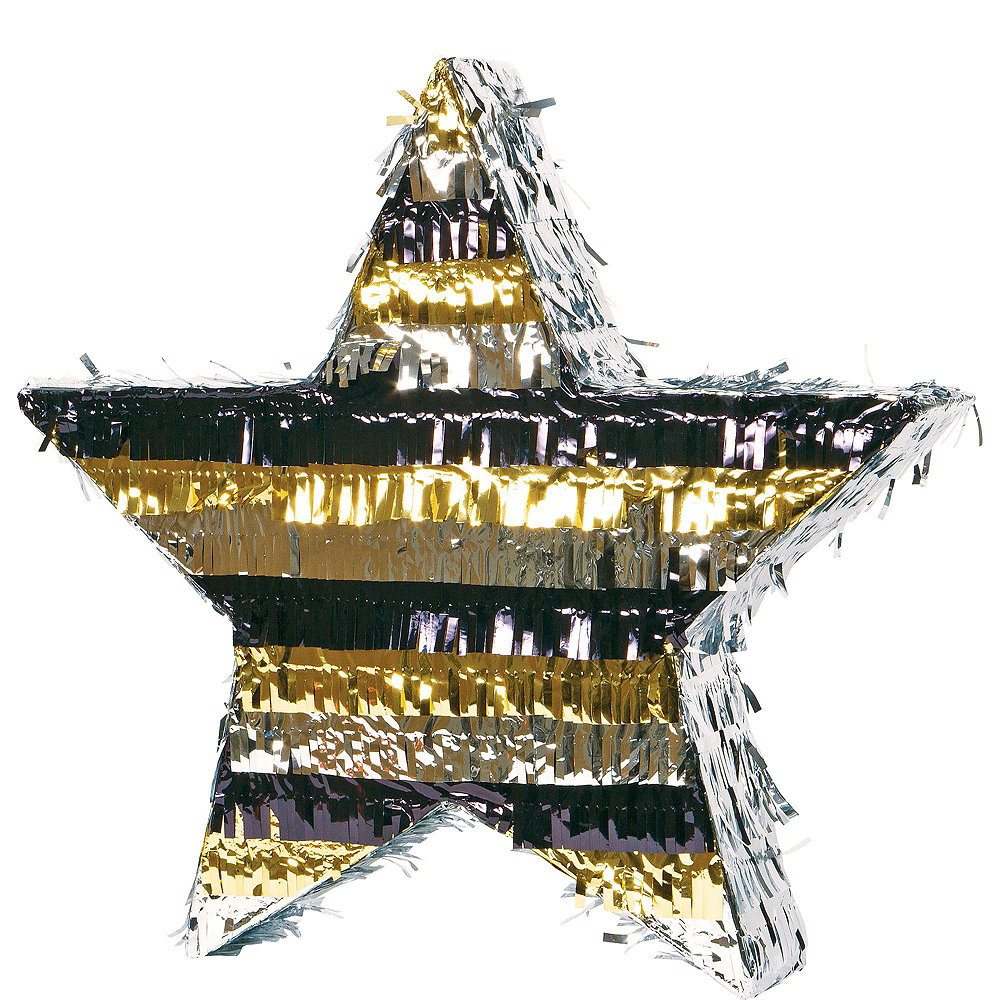 Foil Black, Gold & Silver Star Pinata Kit with Candy & Favors Image #2