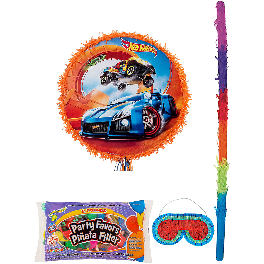 Orange Hot Wheels Pinata Kit with Candy & Favors Image #1