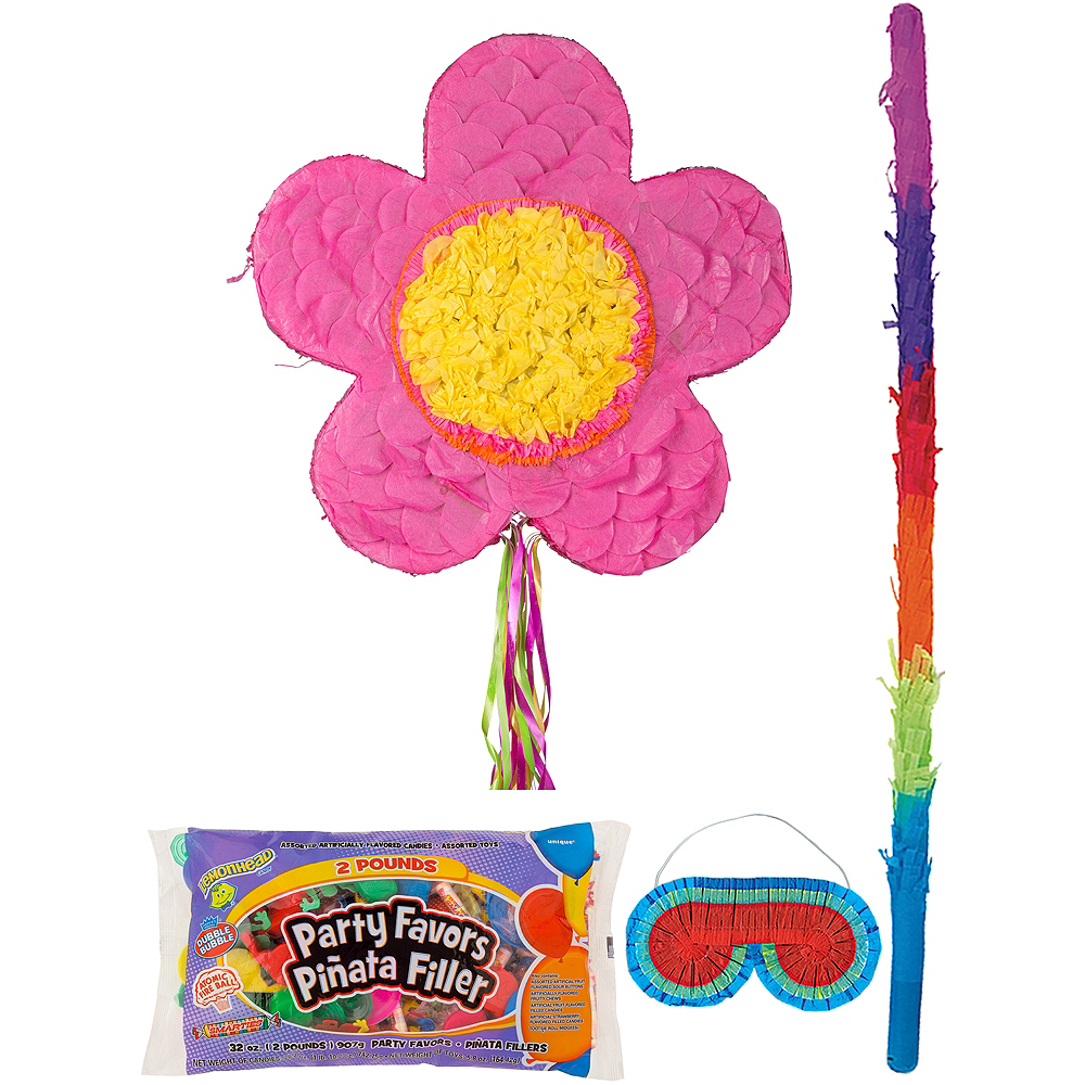 Pink Flower Pinata Kit with Candy & Favors Image #1