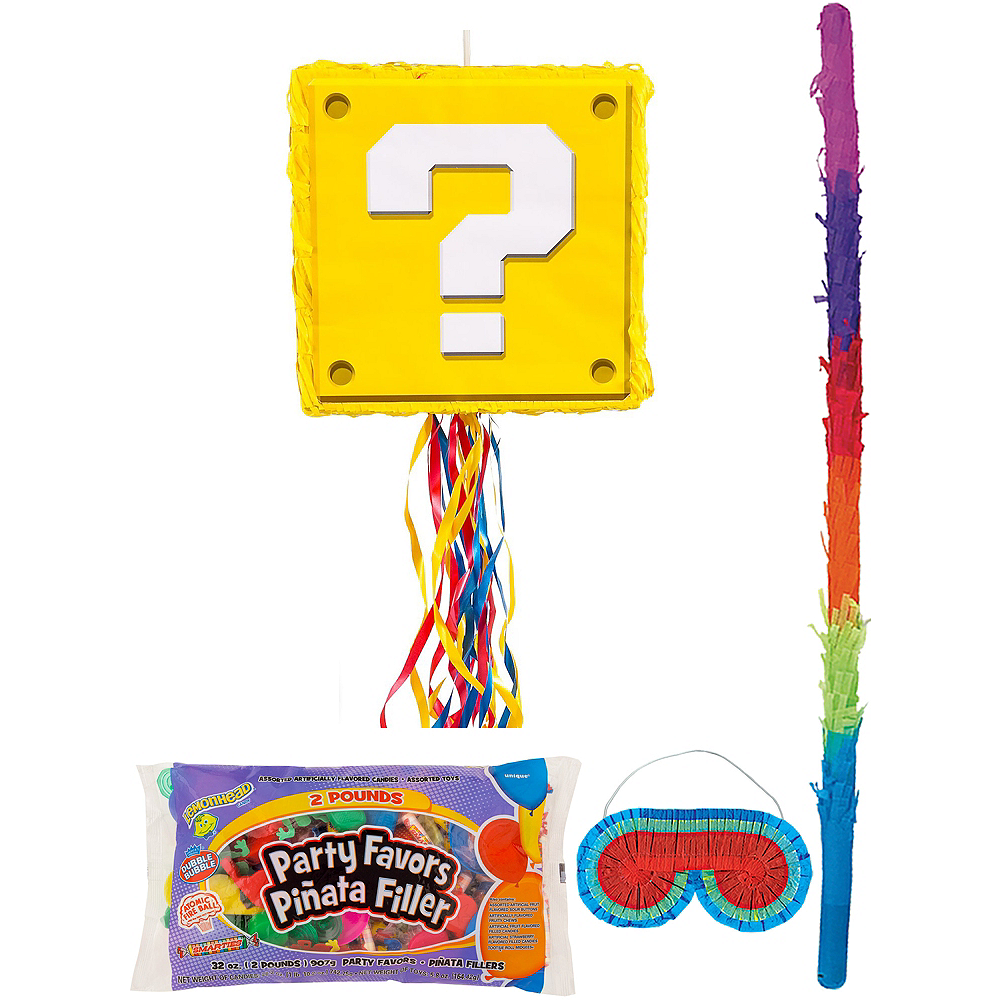 Question Block Pinata Kit with Candy & Favors - Super Mario Image #1