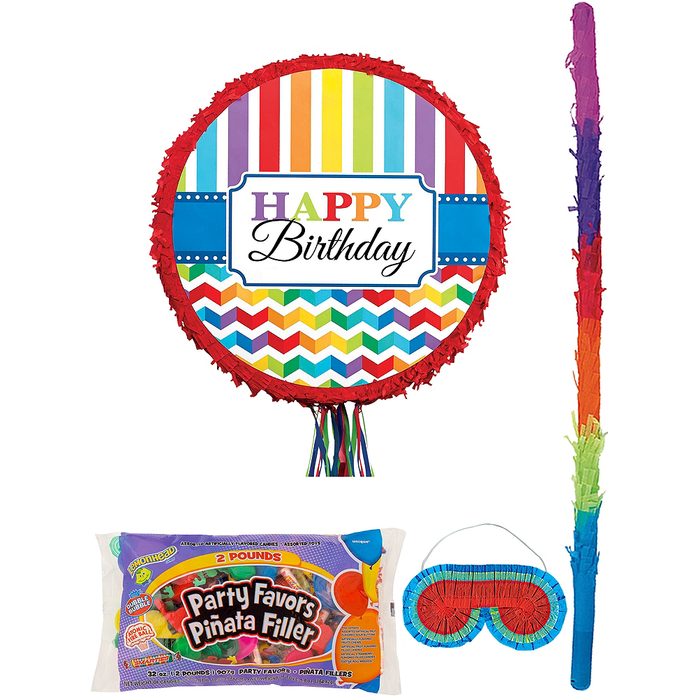 Rainbow Chevron Pinata Kit with Candy & Favors Image #1
