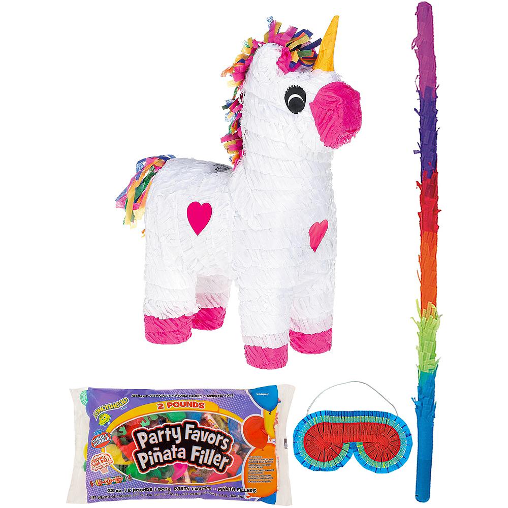 White Unicorn Pinata Kit with Candy & Favors Image #1