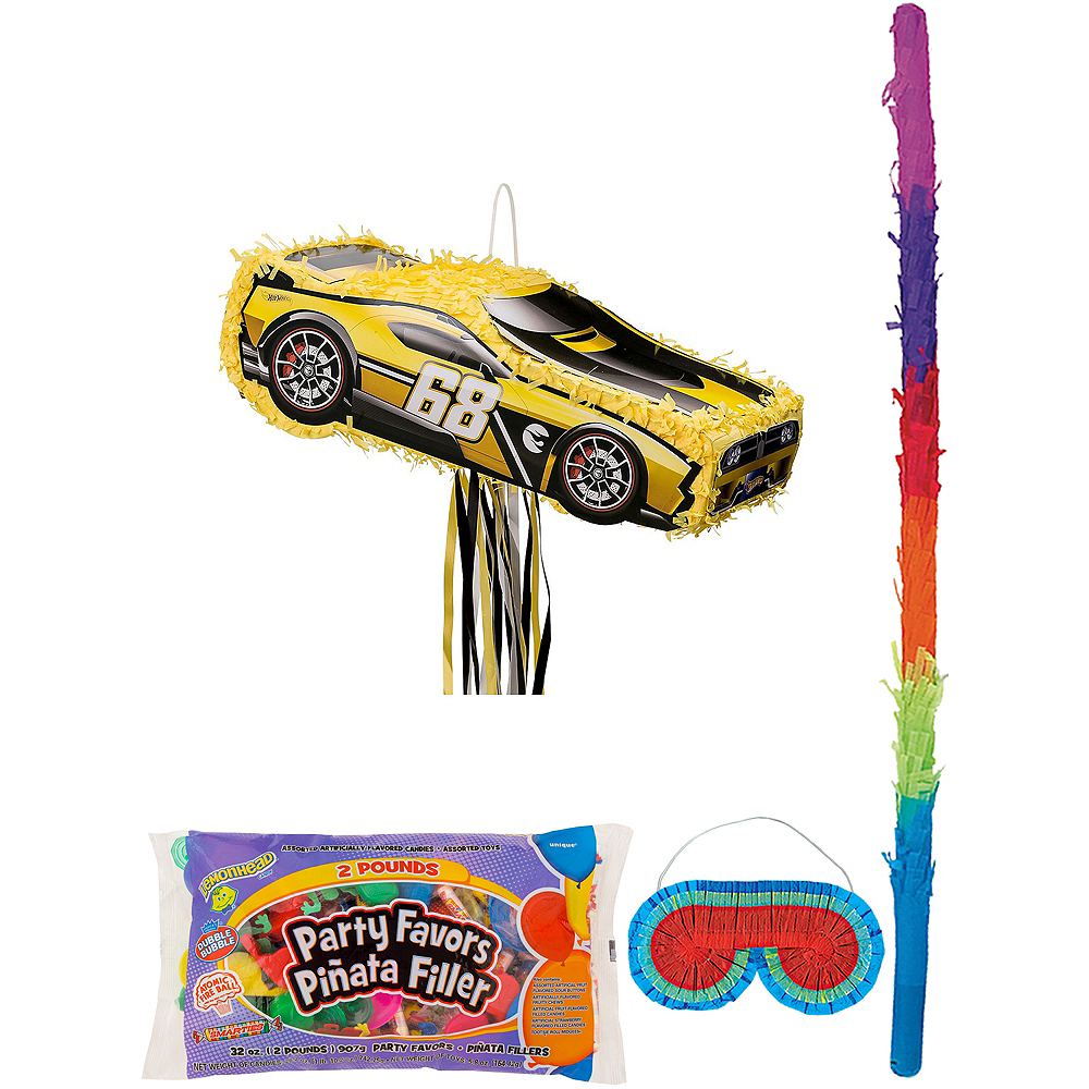 Yellow Race Car Pinata Kit with Candy & Favors - Hot Wheels Image #1