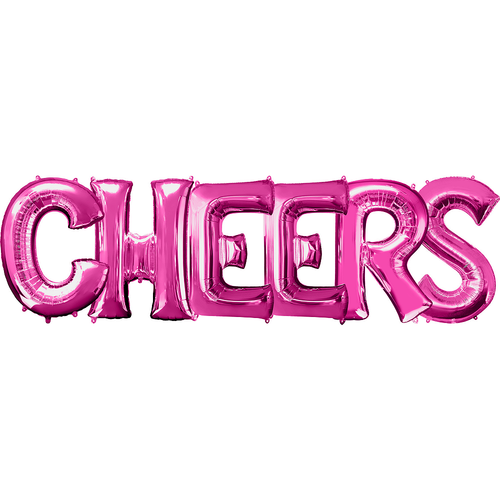 Giant Pink Cheers Letter Balloon Kit 7pc | Party City