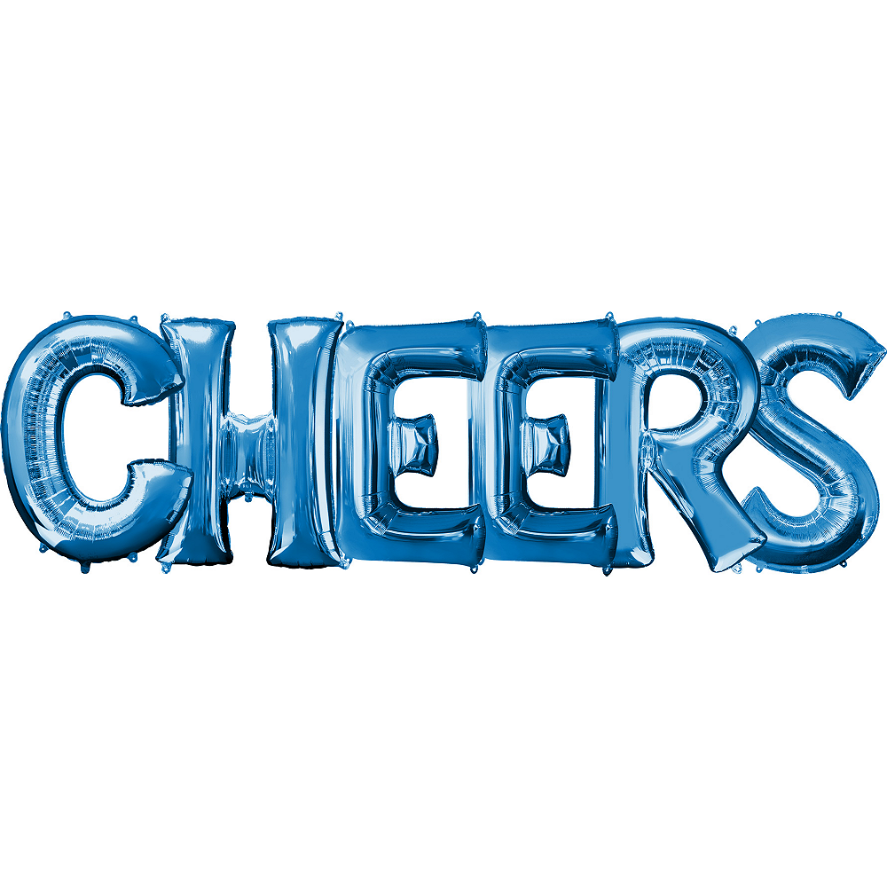 34in Blue Cheers Letter Balloon Kit 7pc Image #1