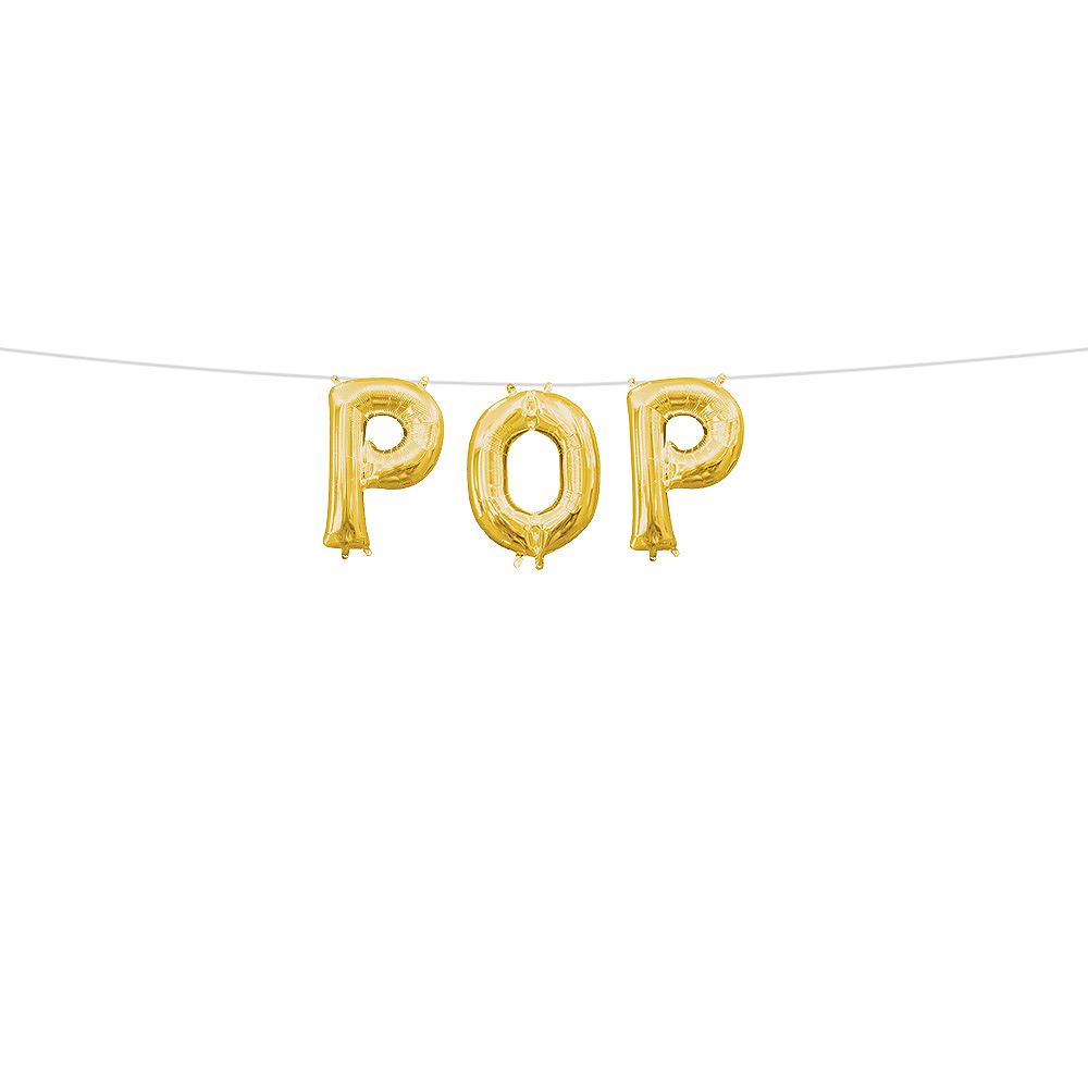 13in Air-Filled Gold Pop Letter Balloon Kit Image #1