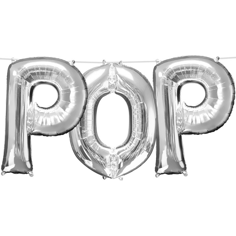 13in Air-Filled Silver Pop Letter Balloon Kit Image #1