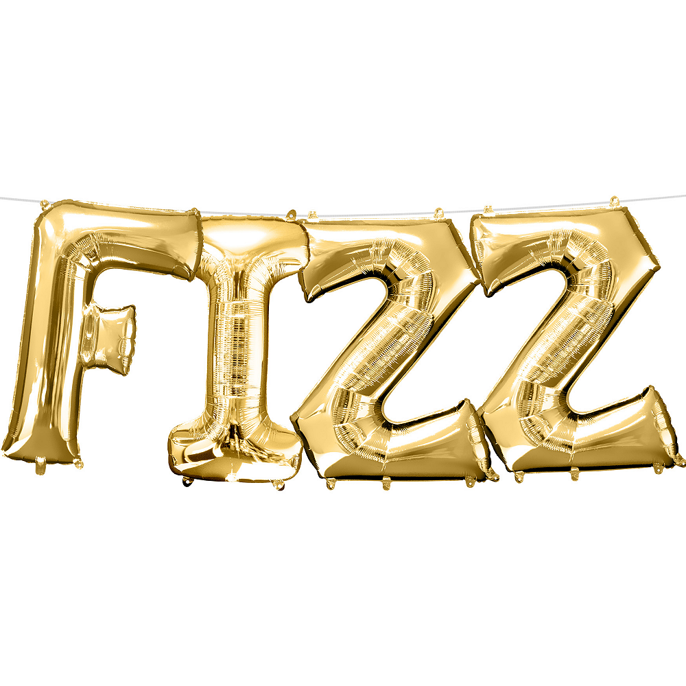 13in Air-Filled Gold Fizz Letter Balloon Kit Image #1