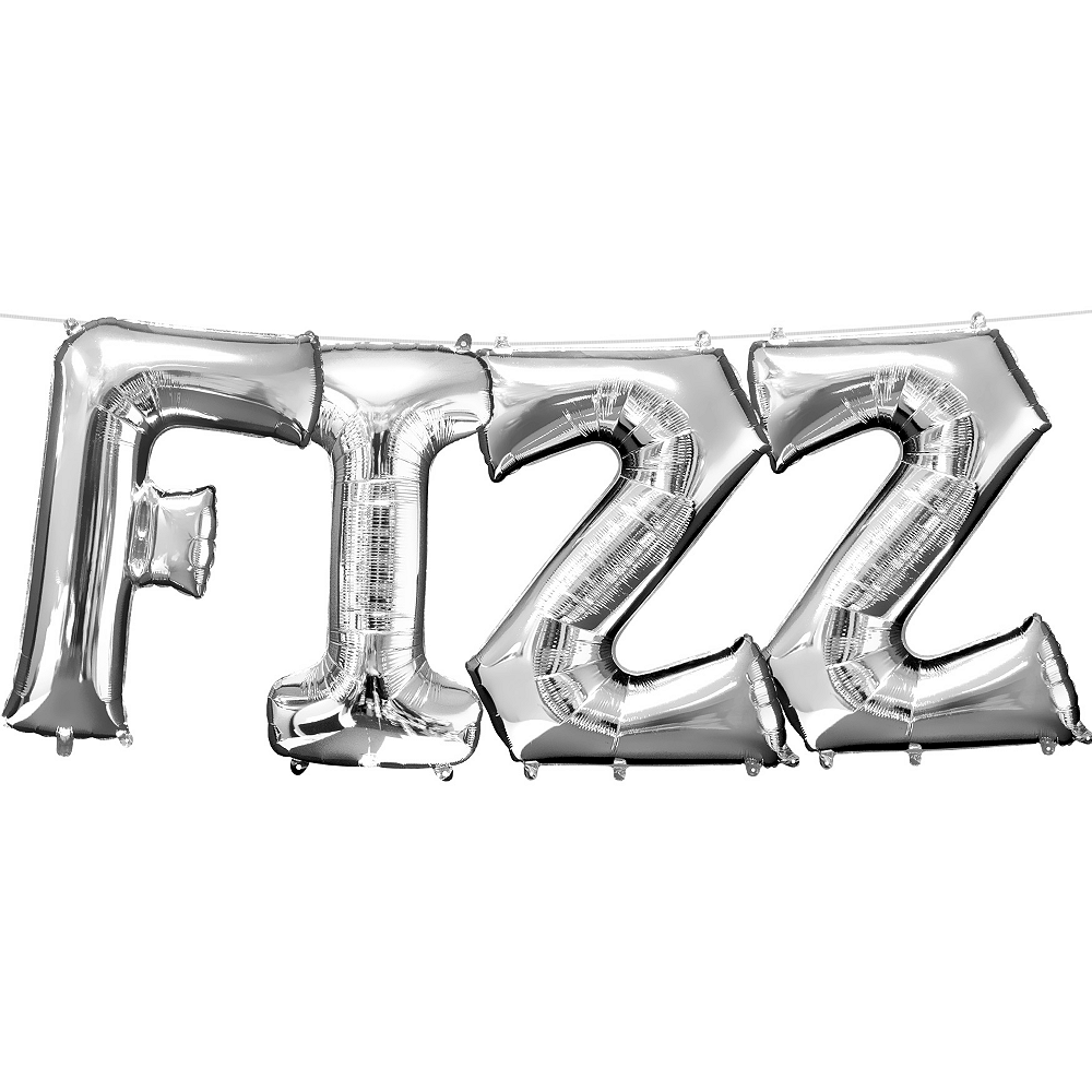 13in Air-Filled Silver Fizz Letter Balloon Kit Image #1