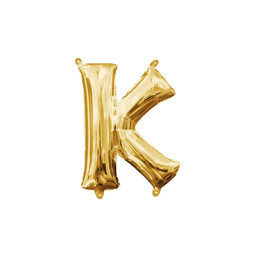 13in Air-Filled Gold Kiss Letter Balloon Kit Image #4