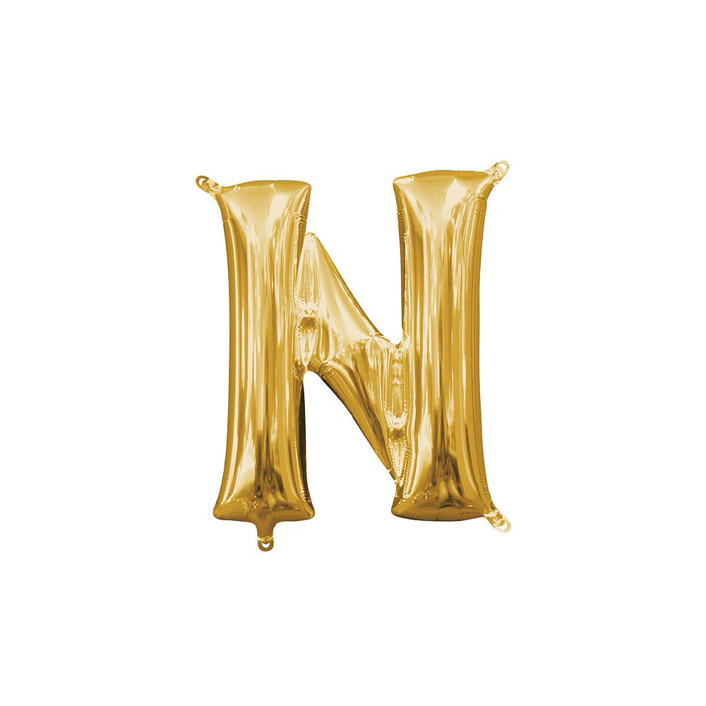 13in Air-Filled Gold Clink Letter Balloon Kit Image #7