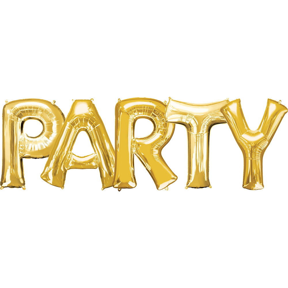 34in Gold Party Letter Balloon Kit 6pc Image #1
