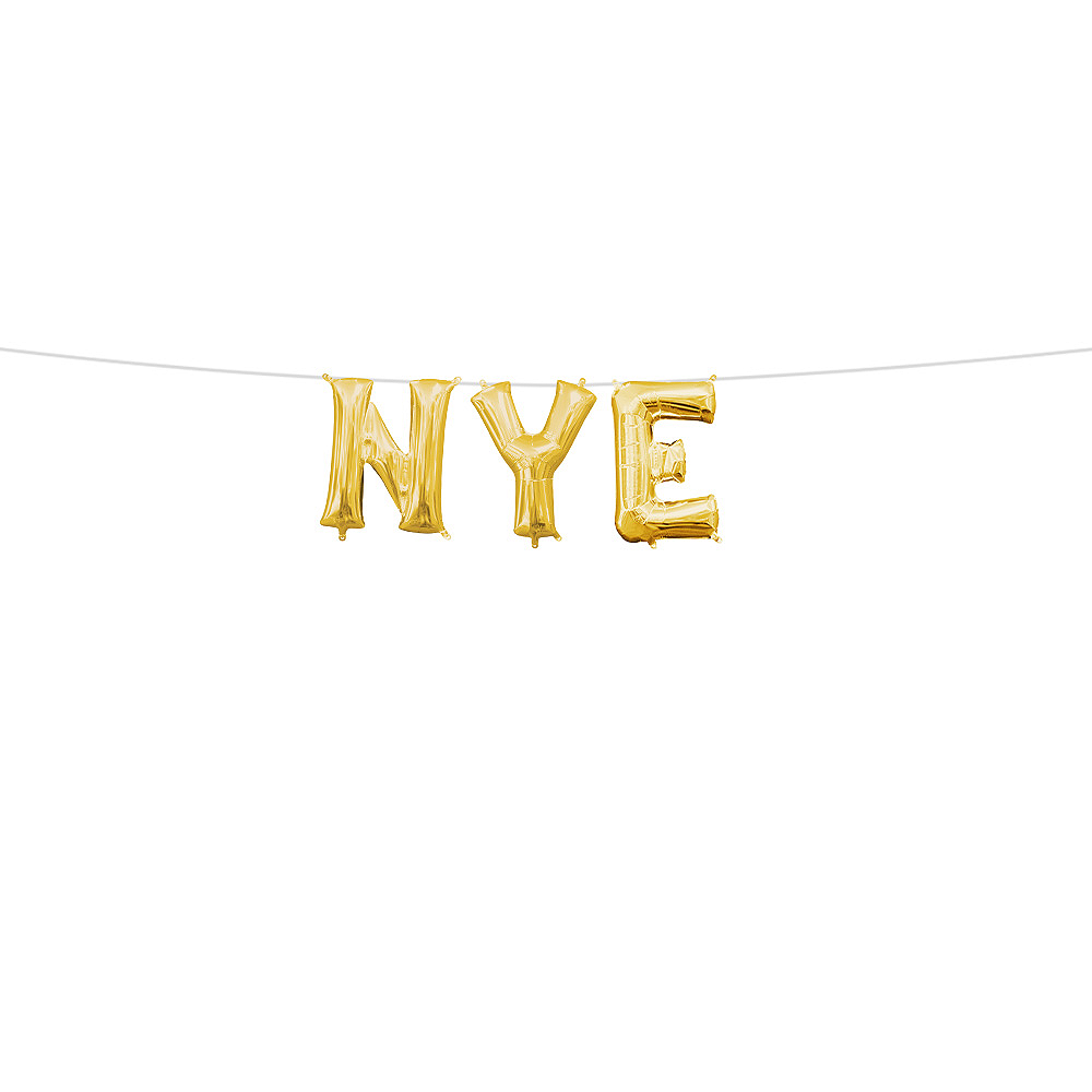 13in Air-Filled Gold NYE Letter Balloon Kit Image #1