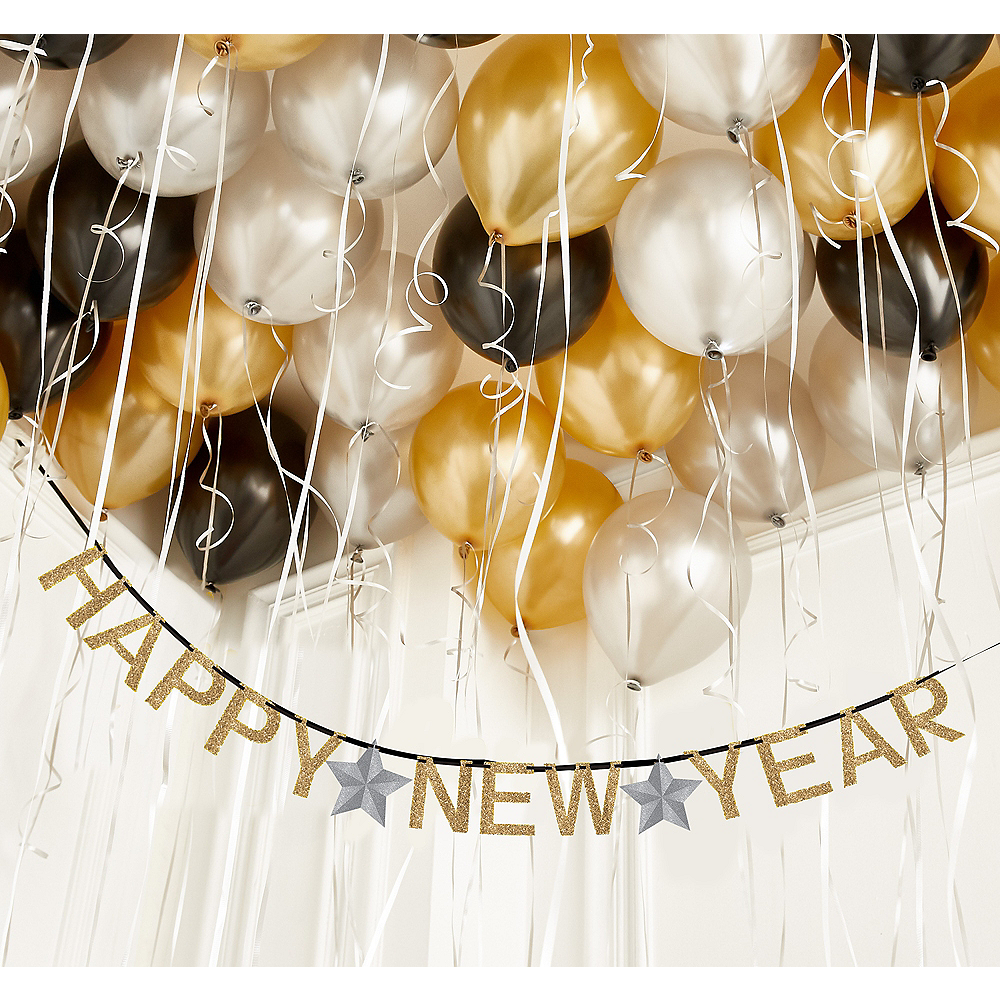 Black, Gold & Silver Happy New Year Ceiling Balloon Kit Image #1