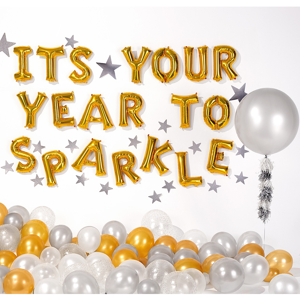 13in Air-Filled Gold This Is Your Year To Sparkle Letter Balloon Kit Image #1