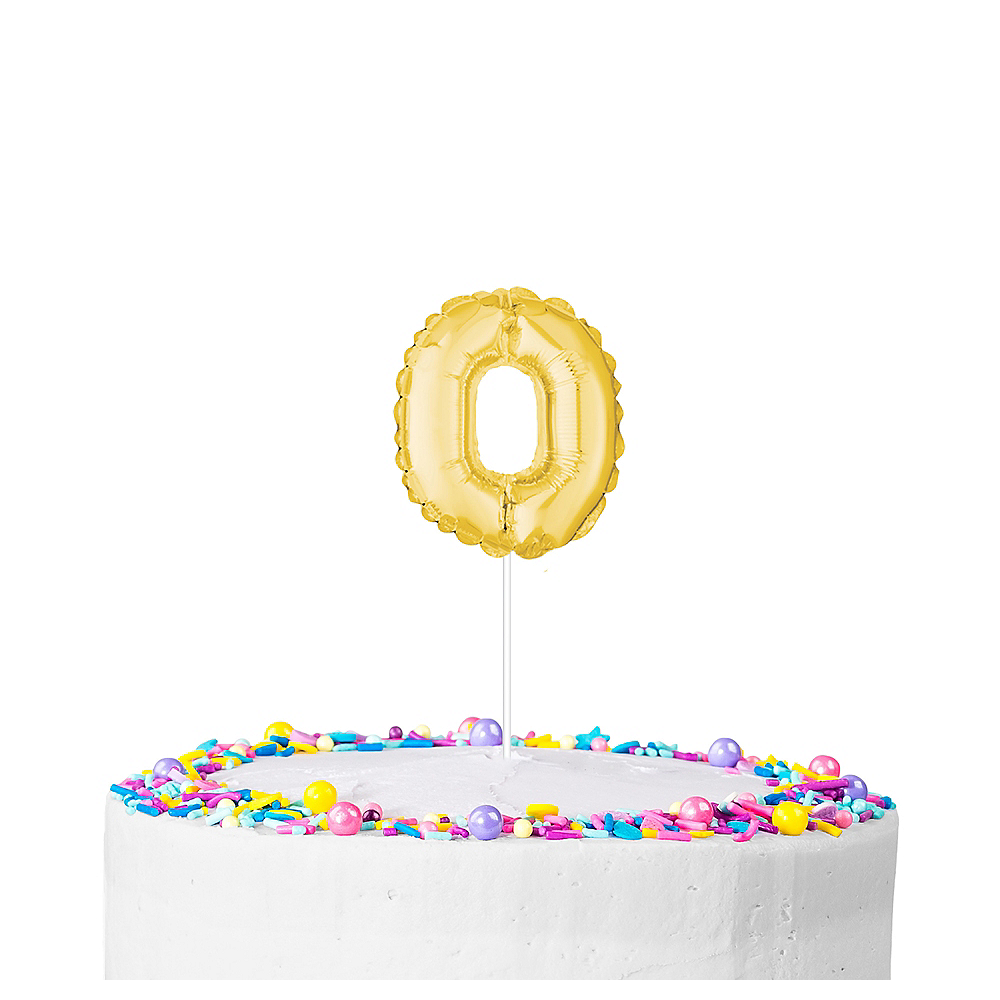 Air-Filled Gold Balloon Number 0 Cake Topper Image #1