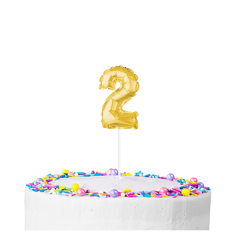 Air Filled Gold Balloon Number 2 Cake Topper Image 1