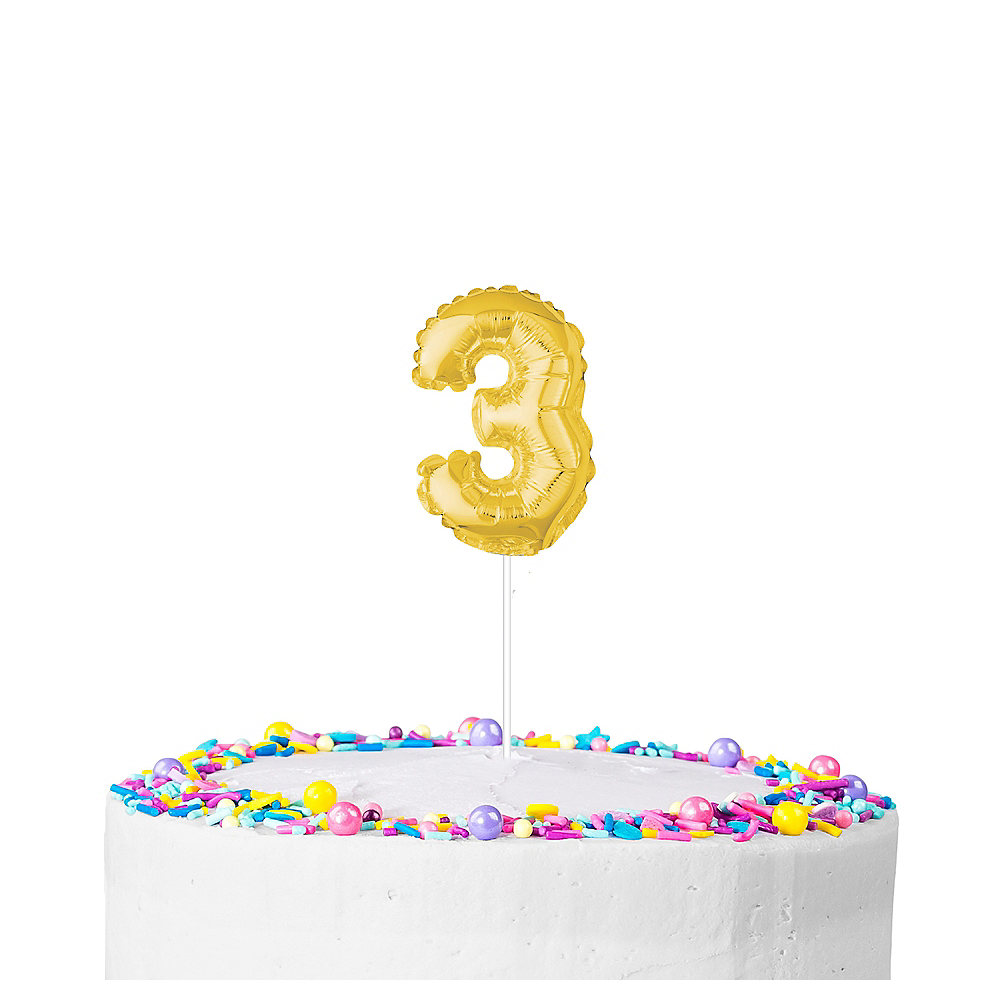 Air-Filled Gold Balloon Number 3 Cake Topper Image #1