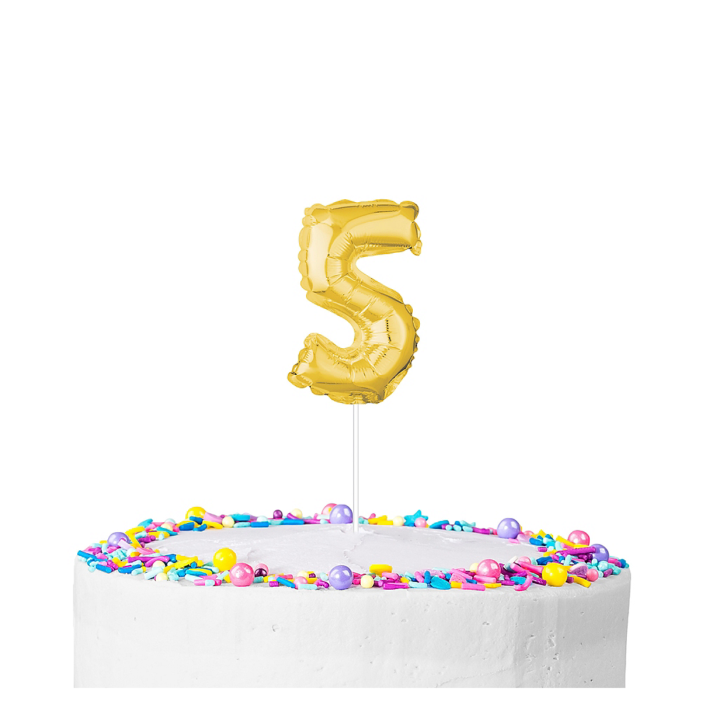 Air Filled Gold Balloon Number 5 Cake Topper Image 1