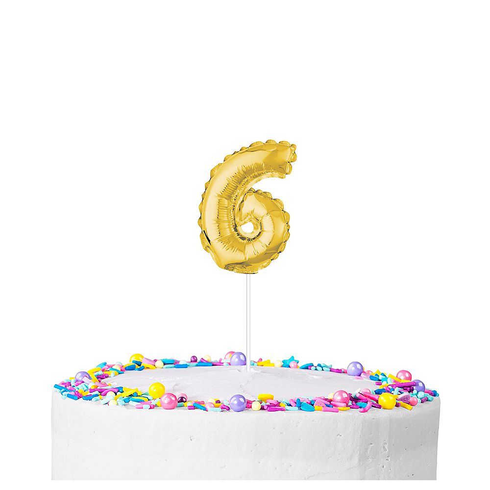 Air-Filled Gold Balloon Number 6 Cake Topper Image #1