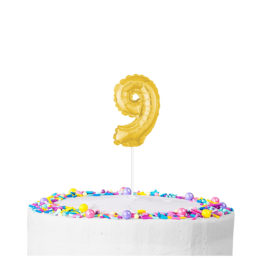 Air-Filled Gold Balloon Number 9 Cake Topper Image #1