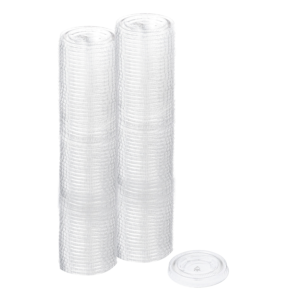 Nav Item for Big Party Pack Small CLEAR Plastic Portion Cup Lids 200ct Image #1