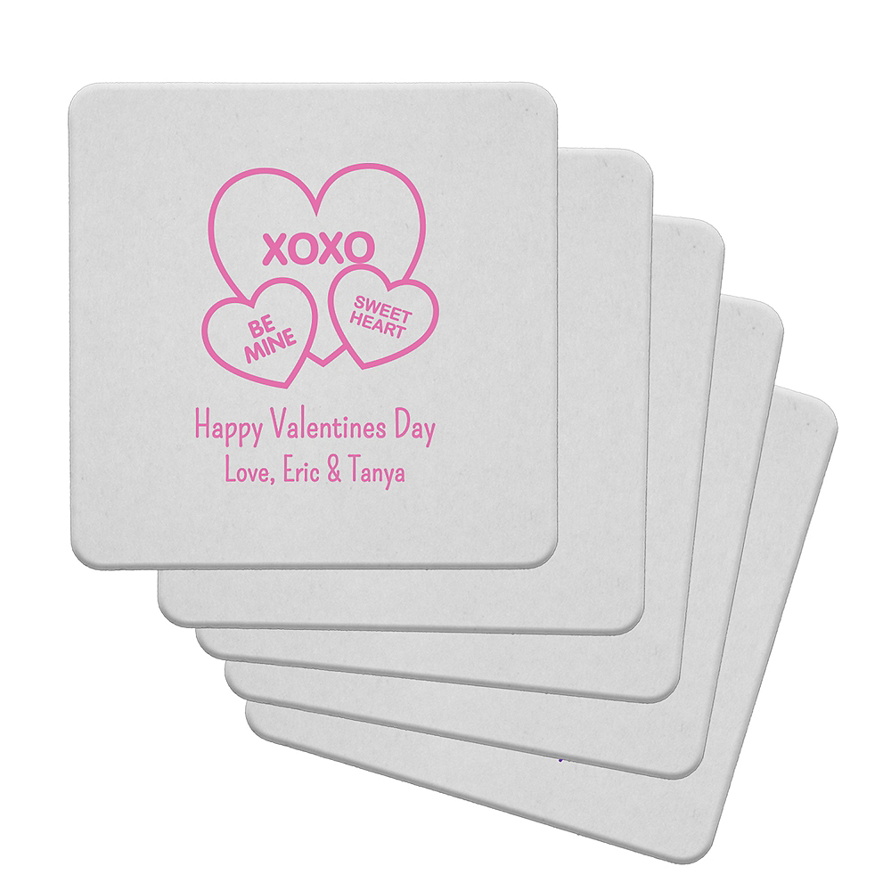 Personalized Valentine's Day 80pt Square Coasters Image #1