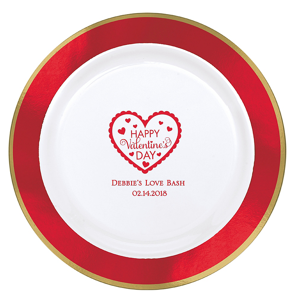 Personalized Valentine's Day Premium Round Trimmed Dinner Plates Image #1