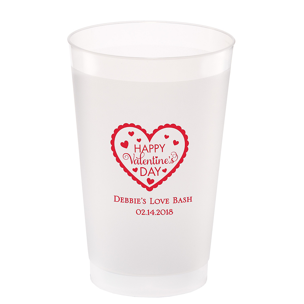 Personalized Valentine's Day Frosted Plastic Shatterproof Cups 24oz Image #1