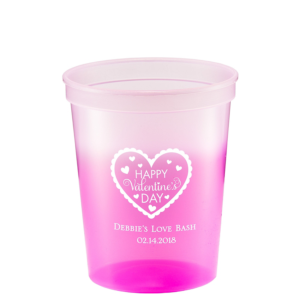 Personalized Valentine's Day Color-Changing Plastic Stadium Cups 16oz Image #1