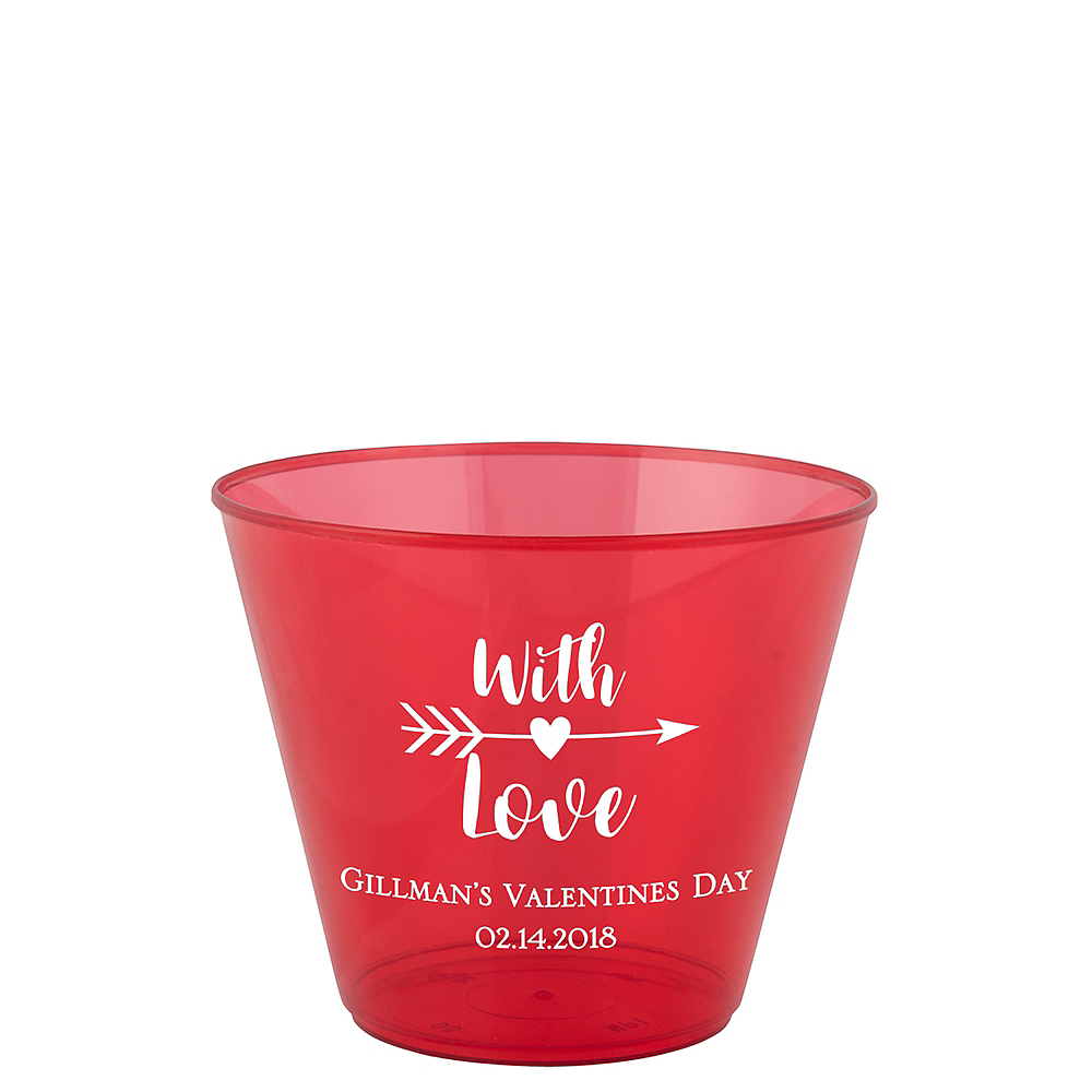 Personalized Valentine's Day Hard Plastic Color Cups 9oz Image #1