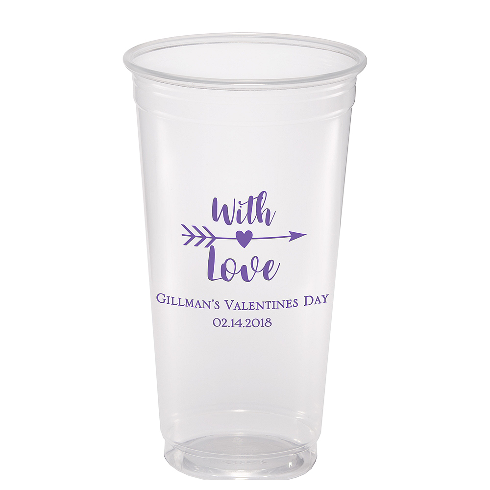 Personalized Valentine's Day Plastic Party Cups 24oz Image #1