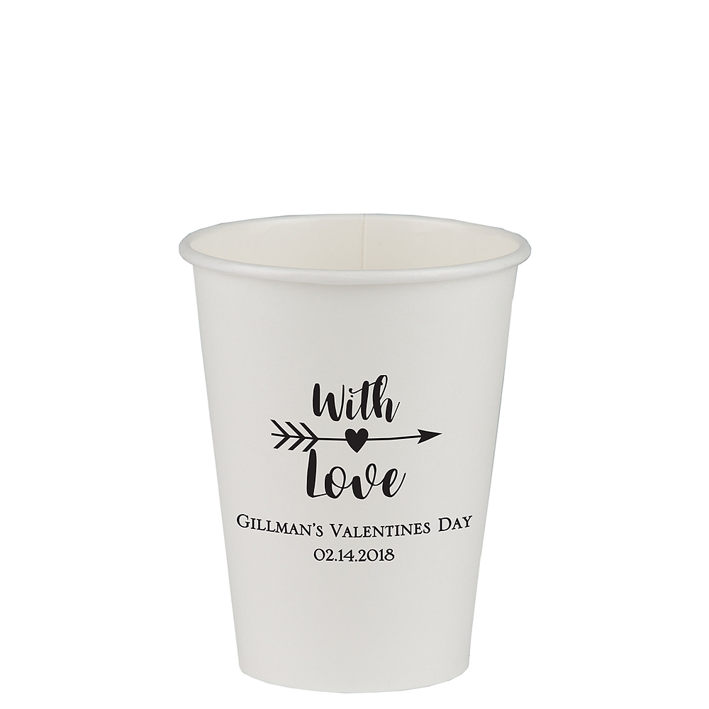Personalized Valentine's Day Paper Cups 12oz Image #1