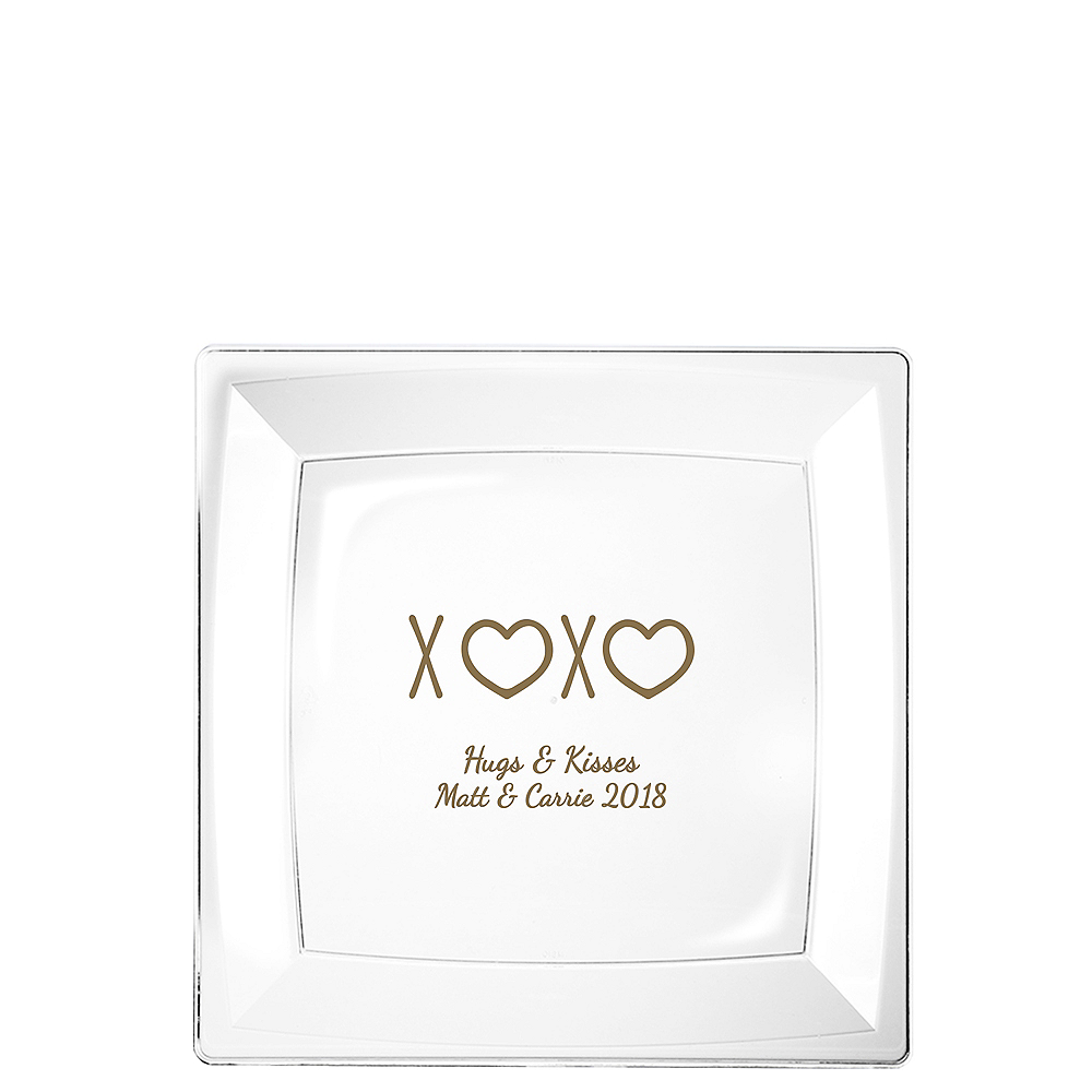 Personalized Valentine's Day Premium Plastic Square Dessert Plates Image #1