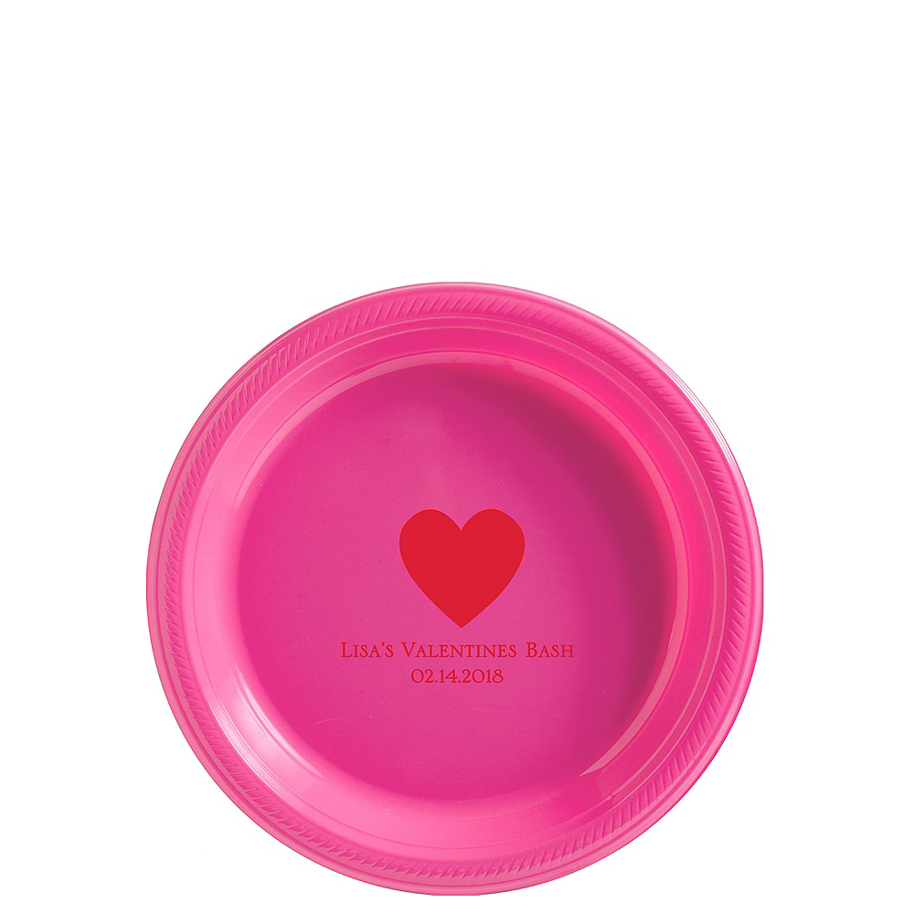 Personalized Valentine's Day Plastic Dessert Plates Image #1
