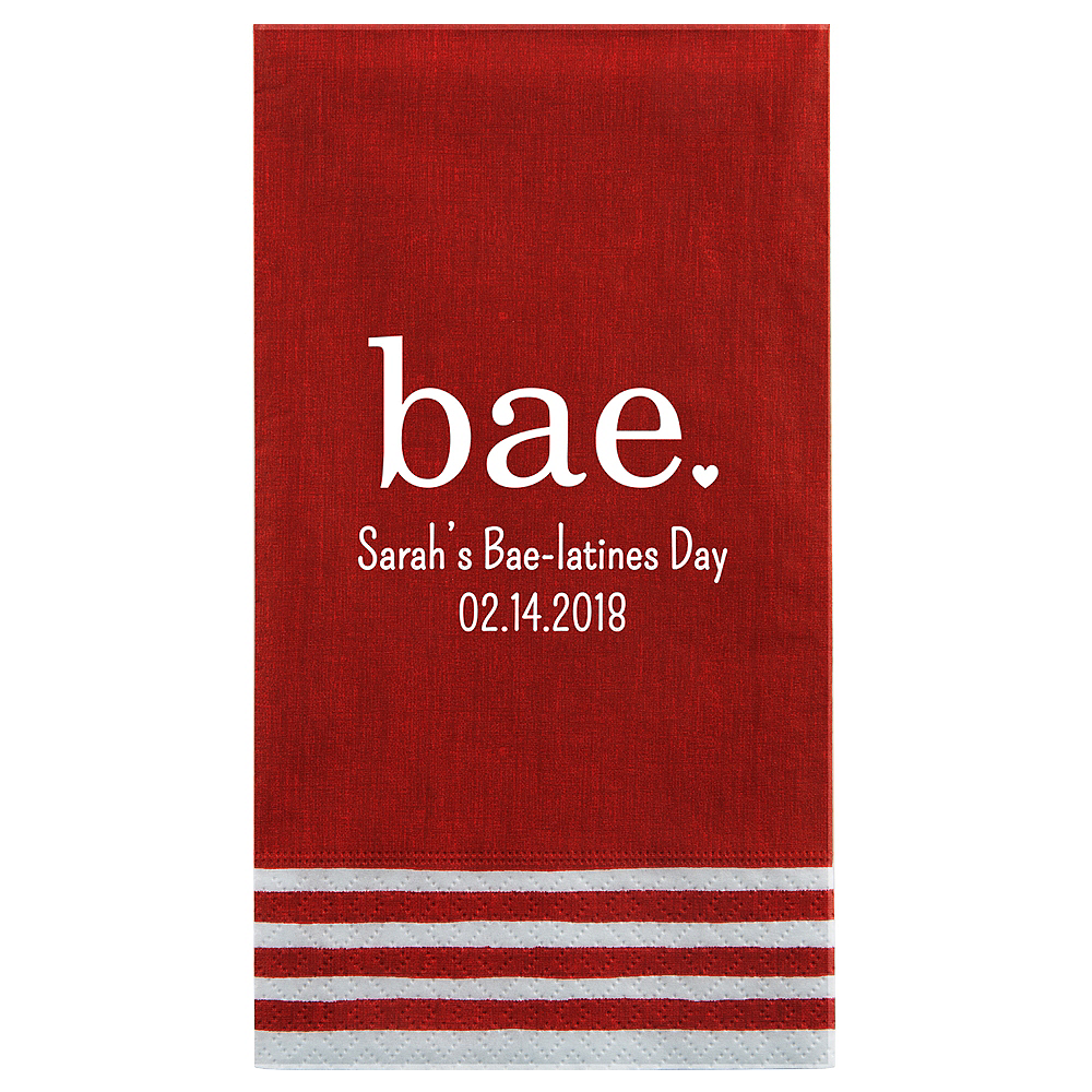 Personalized Valentine's Day Stripe Border Guest Towels Image #1