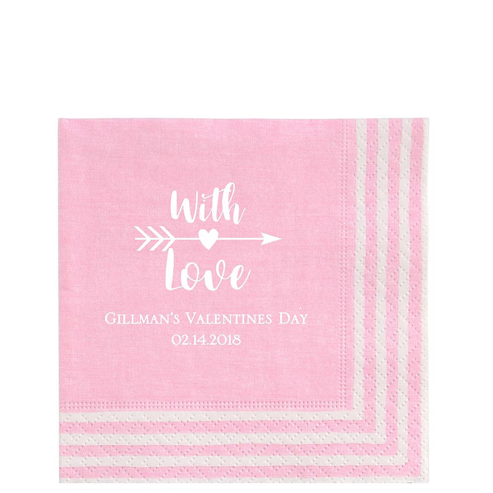 Personalized Valentine's Day Stripe Border Lunch Napkins Image #1